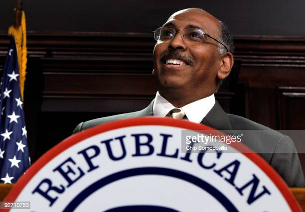 Republican National Committee Chairman Michael Steele holds a news conference at the committee's headquarters on Capitol Hill November 4 2009 in...