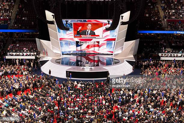 Republican National Committee Chairman Reince Priebus does a televison interview at the Republican Convention July 21 2016 in Cleveland Ohio