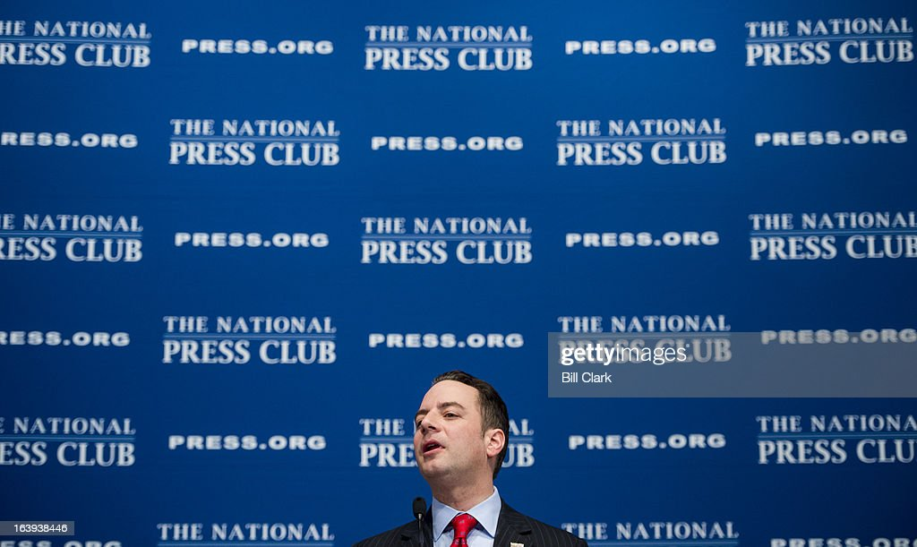 Republican National Committee Chairman Reince Priebus speaks at the National Press Club on the forward strategy of the Republican Party on Monday, March 18, 2013.