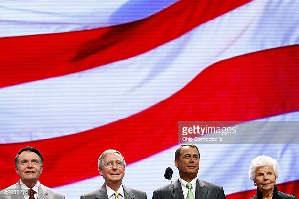 Republican National Committee Chairman Robert M 'Mike' Duncan Senate Minority Leader Mitch McConnell House Minority Leader John Boehner and Jo Ann...
