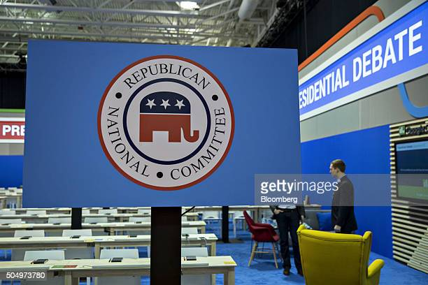 A Republican National Committee sign stands in the media filing center ahead of the Republican presidential candidate debate in North Charleston...
