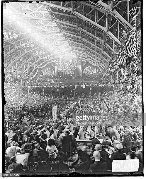 Republican National Convention Coliseum auditorium filled with people interior view along length dark exposure Chicago Illinois June 20 1912