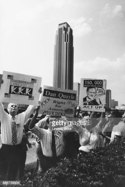 1992 Republican National Convention Protests ACT UP activists wearing masks in the images of Ronald Reagan and George HW Bush protest the American...