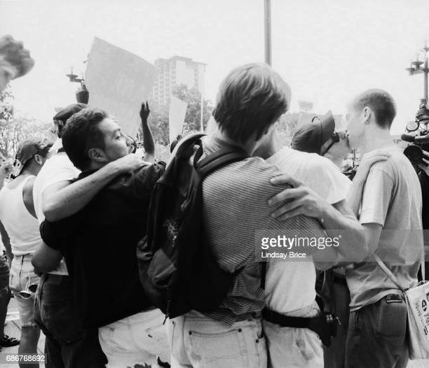 1992 Republican National Convention Protests Queer Nation and ACT UP activists by the political action of kissing in public protest the Republican...