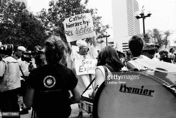 1992 Republican National Convention Protests Queer Nation and ACT UP activists one in costume as a Pope protest the Republican Party the American...