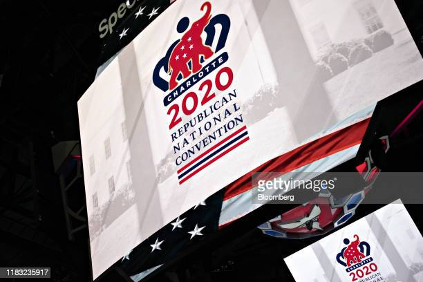 Republican National Convention signage is displayed inside the Spectrum Center during a media walkthrough in Charlotte North Carolina US on Tuesday...
