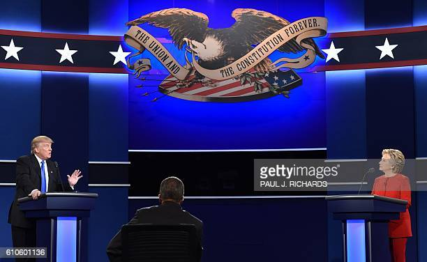 Republican nominee Donald Trump and Democratic nominee Hillary Clinton face off during the first presidential debate at Hofstra University in...