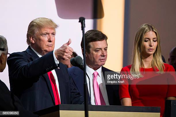 Republican nominee Donald Trump Campaign Manager Paul Manafort and his daughter Ivanka Trump do a walk thru at the Republican Convention July 20 2016...