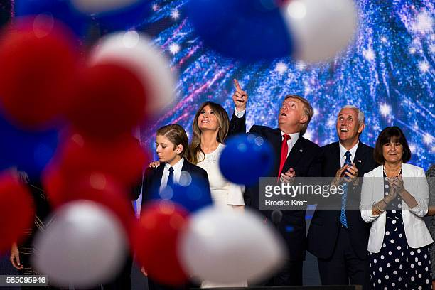 Republican nominee Donald Trump celebrates after the Republican Convention July 21 2016 at the Quicken Loans Arena in Cleveland Ohio His is joined by...