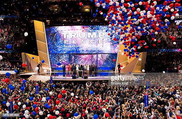 Republican nominee Donald Trump celebrates after the Republican Convention July 21 2016 at the Quicken Loans Arena in Cleveland Ohio They will both...