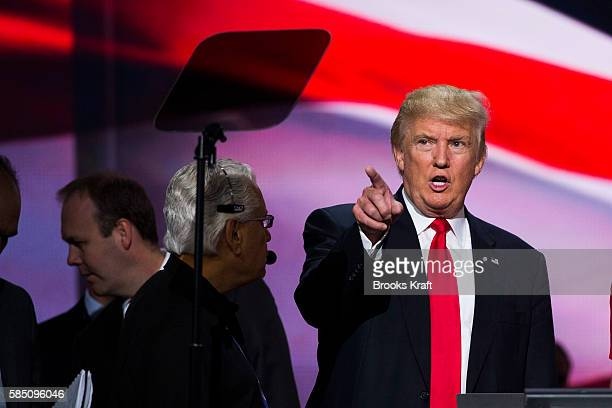 Republican nominee Donald Trump checks the teleprompter during a walk thru at the Republican Convention, July 20, 2016 at the Quicken Loans Arena in...