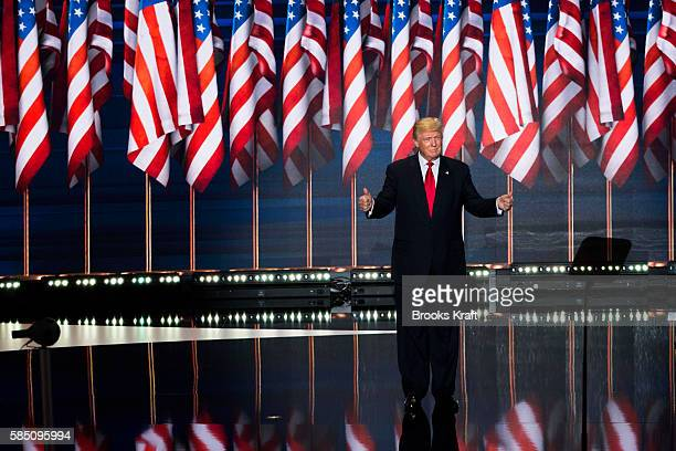 Republican nominee Donald Trump delivers his keynote address at the Republican Convention July 21 2016 at the Quicken Loans Arena in Cleveland Ohio