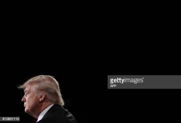 Republican nominee Donald Trump is seen during the first presidential debate at Hofstra University in Hempstead, New York on September 26, 2016....