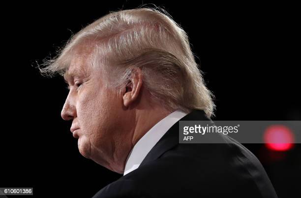 Republican nominee Donald Trump is seen during the first presidential debate at Hofstra University in Hempstead New York on September 26 2016 Hillary...