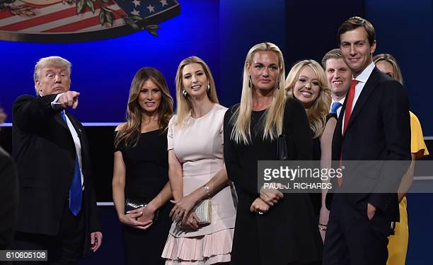 Republican nominee Donald Trump Melania Trump Ivanka Trump Donald Trump Jr's wife Vanessa Trump Eric Trumps wife Lara Yunaska and Eric Trump look on...