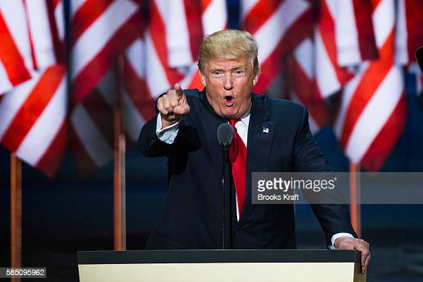 Republican nominee Donald Trump speaks at the Republican Convention July 21 2016 at the Quicken Loans Arena in Cleveland Ohio