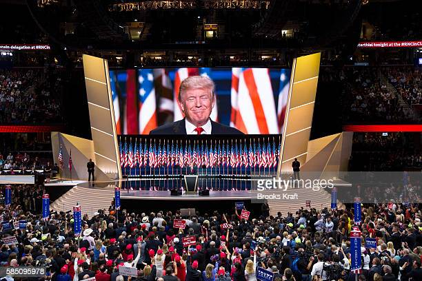 Republican nominee Donald Trump speaks at the Republican National Convention, July 21, 2016 at the Quicken Loans Arena in Cleveland, Ohio.