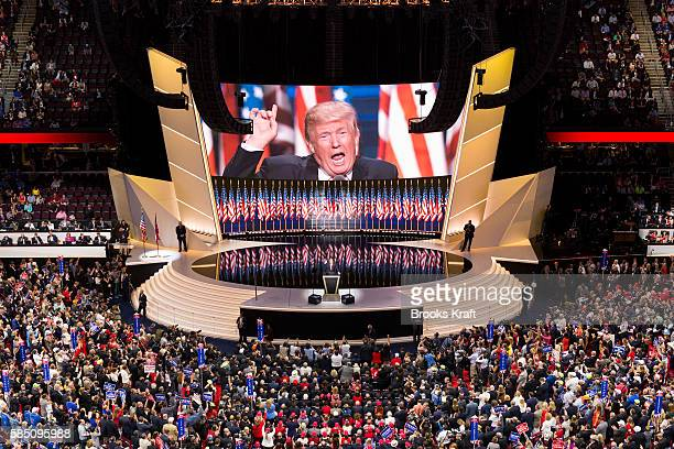 Republican nominee Donald Trump speaks at the Republican National Convention July 21 2016 at the Quicken Loans Arena in Cleveland Ohio