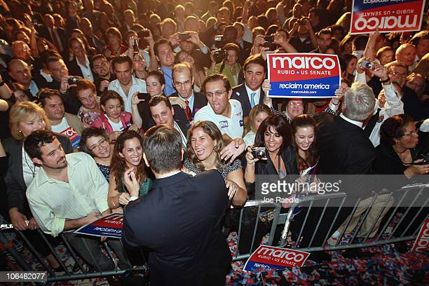 Republican nominee for Florida US Senator Marco Rubio greets people during his Reclaim America Victory Celebration at the Biltmore Hotel on November...