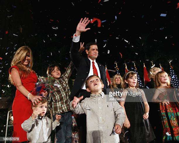 Republican nominee for Florida US Senator Marco Rubio is surrounded by his family and friends during his Reclaim America Victory Celebration at the...