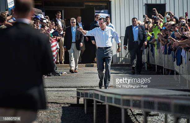 Republican nominee for President Governor Mitt Romney arrives at a rally in south western Virginia in Abingdon Virginia on Friday October 2012