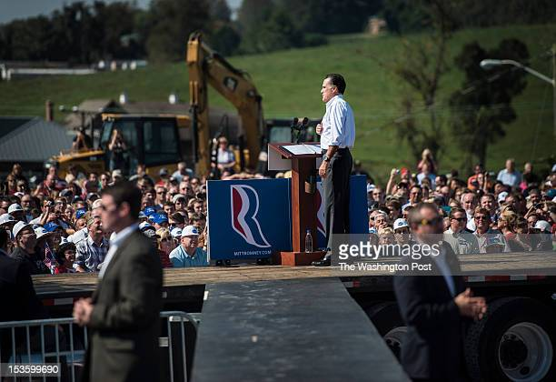 Republican nominee for President Governor Mitt Romney speaks to a working class crowd during a rally in south western Virginia in Abingdon Virginia...