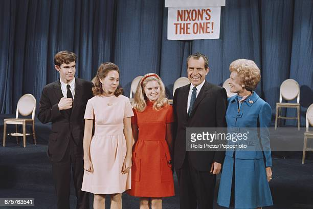 Republican nominee for President of the United States, Richard Nixon pictured with his wife Pat Nixon and daughters Tricia and Julie along with...