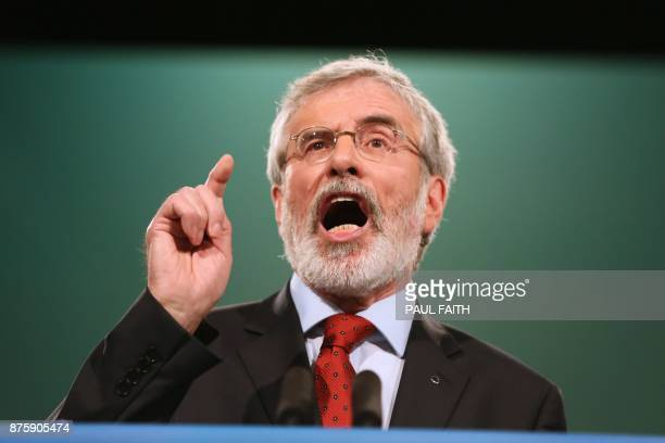 Republican party Sinn Fein leader Gerry Adams delivers a speech at the Sinn Fein Party conference in Dublin Ireland on November 18 2017 Northern...