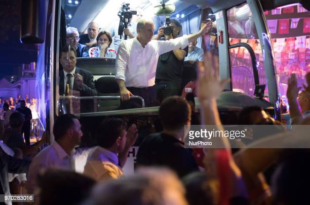 Republican Peoples Party presidential candidate Muharrem Ince greets the crowd during a rally in Kadikoy Istanbul Turkey on 8 June 2018He met with...