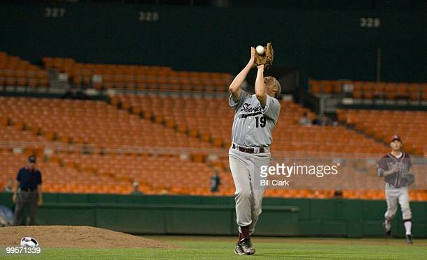 Republican pitcher Rep John Shimkus RIll catches fly ball to end 6th inning during the 46th Annual Roll Call Congressional Baseball Game at RFK...