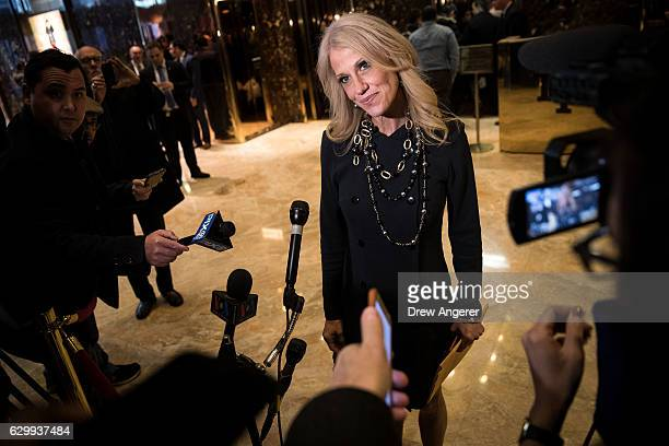 Republican political strategist Kellyanne Conway speaks with reporters in the lobby at Trump Tower December 15 2016 in New York City Presidentelect...