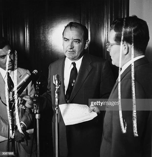 Republican politician and anticommunist Joseph McCarthy after the Senate censured him for financial irregularities