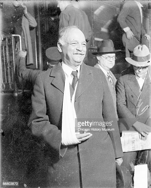 Republican politician Charles Curtis at a railroad station in Chicago, Illinois, circa 1928. Curtis was a member of the Kaw Nation born in the Kansas...
