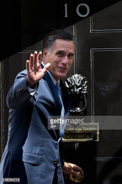 US Republican prerswidential candidate Mitt Romney arrives ahead of a meeting with Britain's Prime Minister David Cameron at 10 Downing street in...