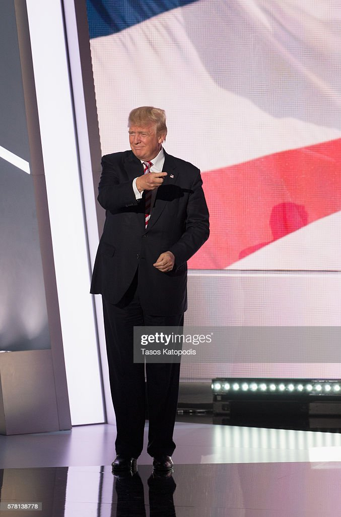 Republican presdential candidate Donald Trump takes the stage on the third day of the Republican National Convention on July 20 2016 at the Quicken Loans Arena in Cleveland, Ohio. An estimated 50,000 people are expected in Cleveland, including hundreds of protestors and members of the media.