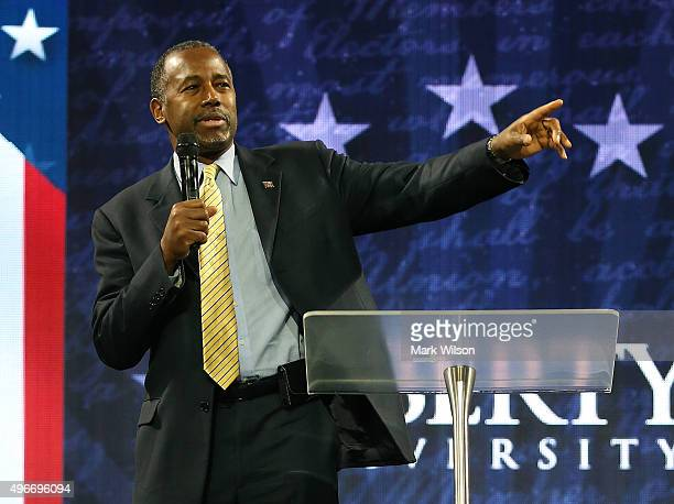 Republican President candidate Dr. Ben Carson speaks at Liberty University, on November 11, 2015 in Lynchburg, Virginia. Today the US Secret Service...