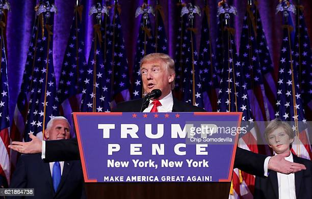 Republican president-elect Donald Trump delivers his acceptance speech during his election night event at the New York Hilton Midtown in the early...