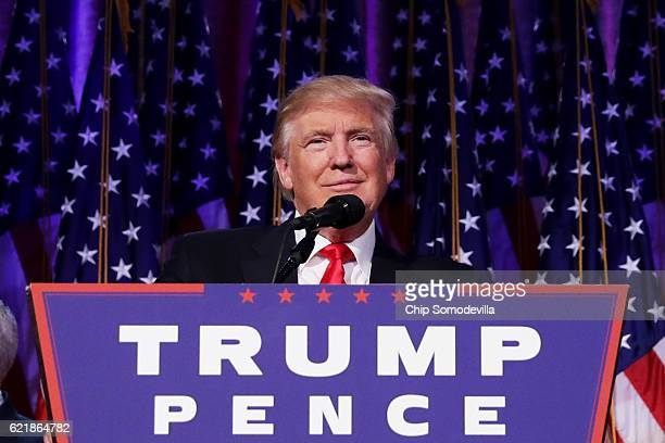 Republican presidentelect Donald Trump delivers his acceptance speech during his election night event at the New York Hilton Midtown in the early...