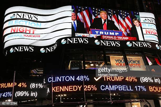 Republican presidentelect Donald Trump's acceptance speech is broadcast at Times Square Studios after winning the US presidential election in Times...