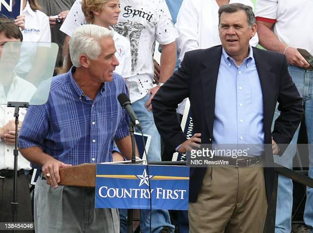 NBC NEWS Republican Presidential Campaign Pictured Governor Charlie Crist and Senator Mel Martinez speak for Senator and Presidential nominee John...