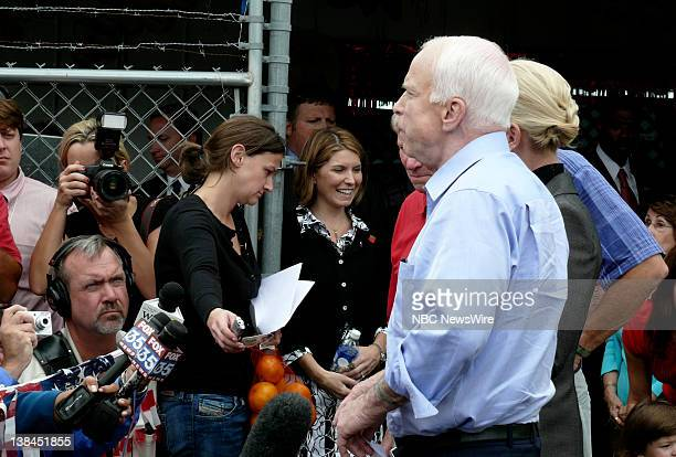 NBC NEWS Republican Presidential Campaign Pictured Senator John McCain Cindy McCain and Governor Charlie Crist makes a statement to the press about...
