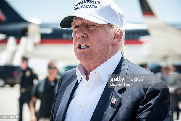 Republican Presidential candidate and business mogul Donald Trump exits his plane during his trip to the border on July 23 2015 in Laredo Texas...
