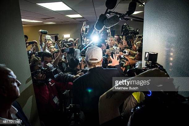 Republican Presidential candidate and business mogul Donald Trump talks to the media in the Laredo Airport after exiting his plane during his trip to...