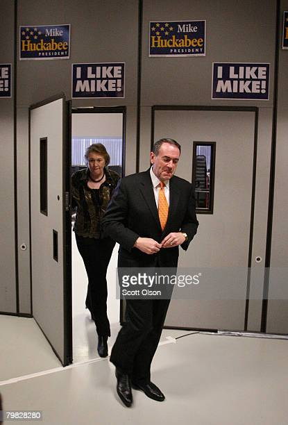 Republican presidential candidate and former Arkansas Gov. Mike Huckabee and his wife Janet arrive for a rally at the Wave Ballroom February 18, 2008...