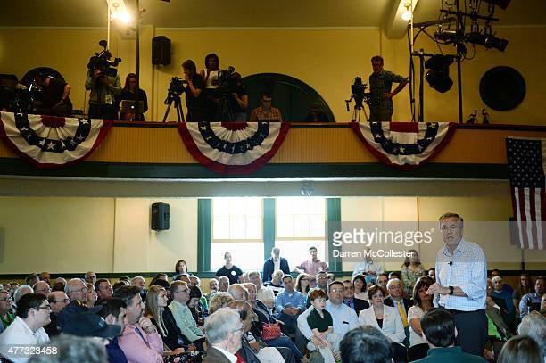 Republican presidential candidate and former Florida Gov Jeb Bush spreaks during a town hall event at Adams Memorial Opera House June 16 2015 in...
