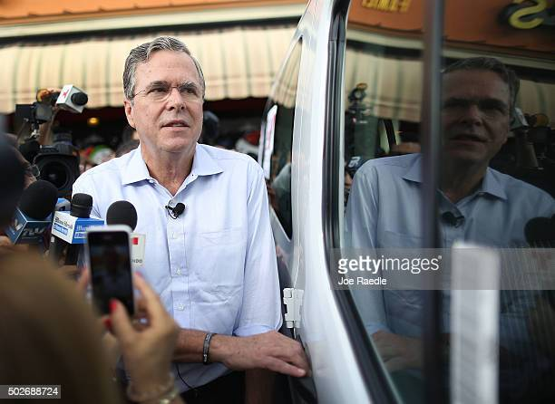 Republican presidential candidate and former Florida Governor Jeb Bush holds a meet and greet at Chico's Restaurant on December 28, 2015 in Hialeah,...