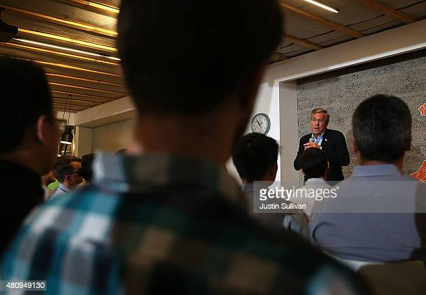 Republican presidential candidate and former Florida governor Jeb Bush speaks to workers at Thumbtack on July 16 2015 in San Francisco California...
