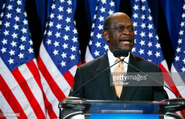 Republican presidential candidate and former Godfather's Pizza CEO Herman Cain speaks at a press conference November 8 2011 in Scottsdale Arizona...