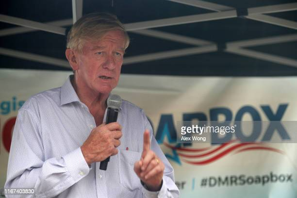 Republican presidential candidate and former Governor of Massachusetts Bill Weld delivers campaign speech at the Des Moines Register Political...