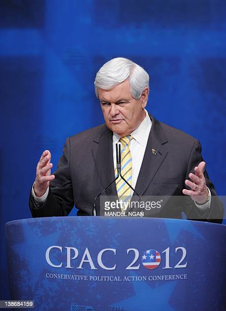 Republican presidential candidate and former House Speaker Newt Gingrich speaks at the 39th Conservative Political Action Committee February 10 2012...